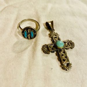 Vintage Turquoise Ring and Cross Pendant
